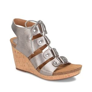 Sofft Carita Leather Lace-up Wedge Sandals 9.5
